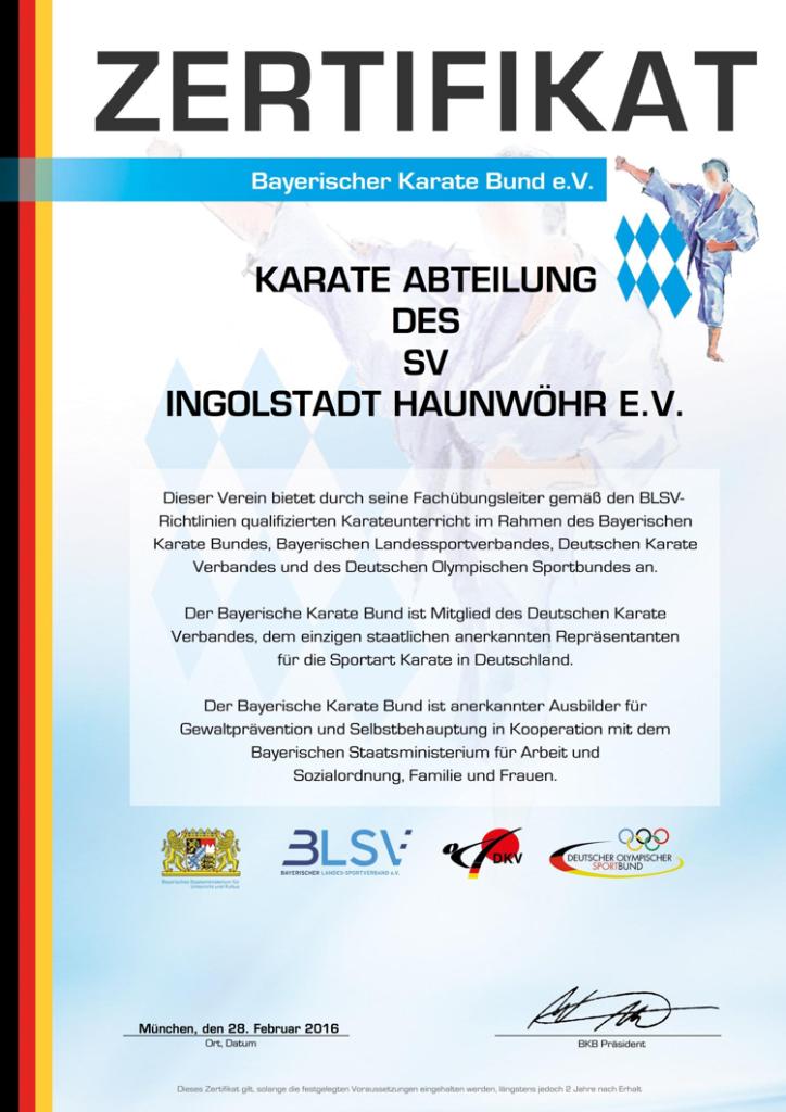 BKB Zertifikat (Karate SV Ingolstadt-Haunwöhr)
