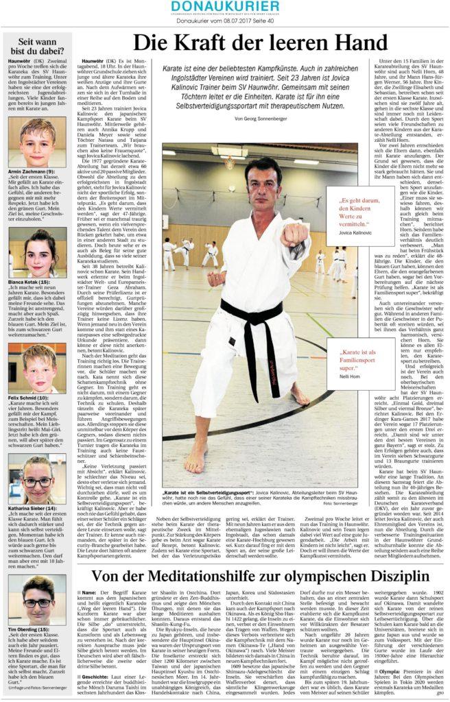 Donaukurierartikel vom 08.07.2017 über den Karateverein Ingolstadt - Haunwöhr | Quelle: www.donaukurier.de - Die Kraft der leeren Hand