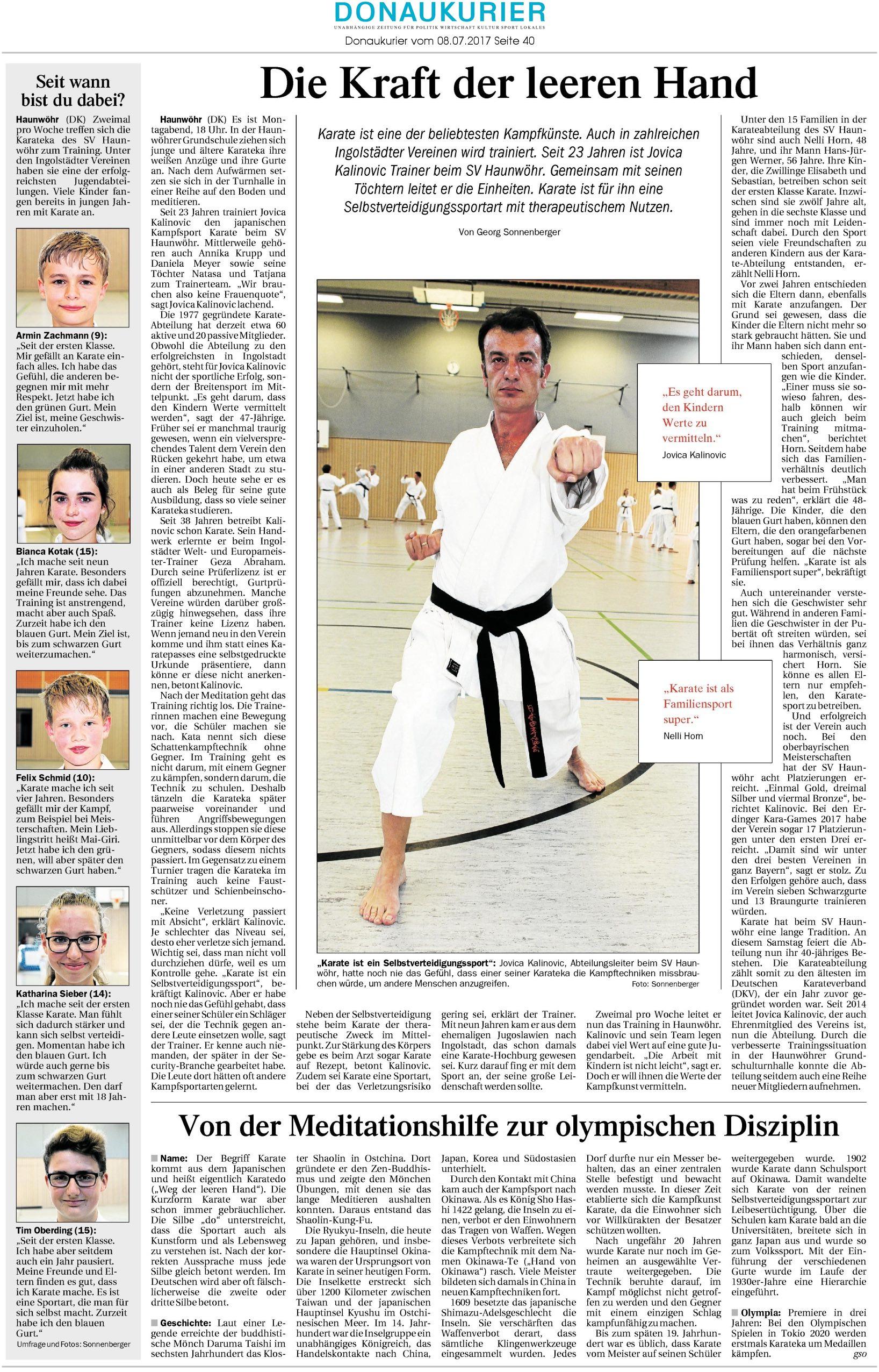 Donaukurierartikel vom 08.07.2017 über den Karateverein Ingolstadt - Haunwöhr | Quelle: www.donaukurier.de - Die Kraft der leerten Hand