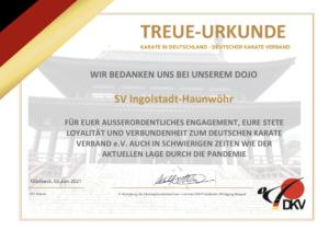 Treue-Urkunde - Karate SV Ingolstadt-Haunwöhr